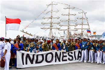 The crew of the Indonesian tall ship Bima Suci
